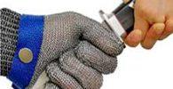 OKAWADACH Guantes Anticorte, Guante Carnicero Guante De Carnicero Malla Guante Malla Metálica Carnicero Guante De Color Azul Talla M Nivel 5 (M)