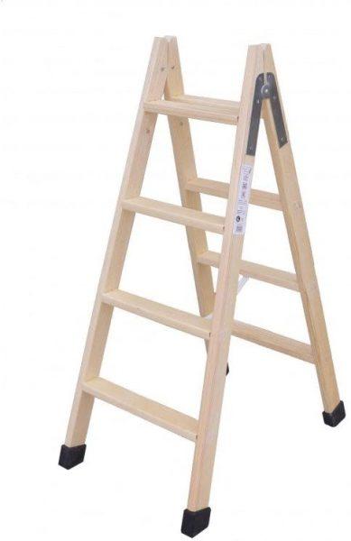 escalera de madera baja 4 peldaños