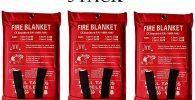 Manta de emergencia para incendios de supervivencia, protección ignífuga y aislamiento térmico diseñado para cocina, chimenea, parrilla, coche, camping, blanco